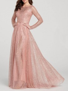 Pink Draped Bronzing Glitter Sparkly Slit Round Neck Long Sleeve Banquet Elegant Maxi Dress