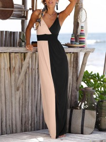 Apricot-Black Patchwork Wrap Metal V-Ausschnitt Flowy Beach Holiday Elegantes Maxikleid