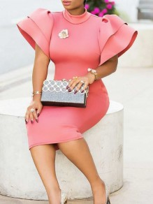 Pink Cascading Ruffle Bodycon Bell Sleeve Elegant Party Maxi Dress