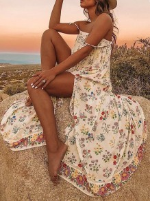 White Floral Spaghetti Strap Thigh High Side Slits Bohemian Beachwear Maxi Dress