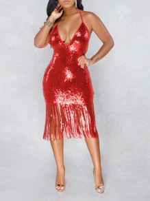 Red Patchwork Sequin Halter Neck Tassel Backless V-neck Sparkly Glitter Birthday Party Maxi Dress