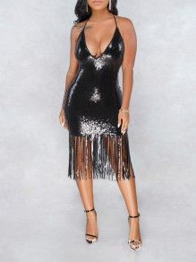 Black Patchwork Sequin Halter Neck Tassel Backless V-neck Sparkly Glitter Birthday Party Maxi Dress