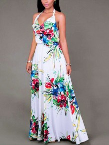 White Floral Spaghetti Strap Pleated Bohemian Beachwear Maxi Dress