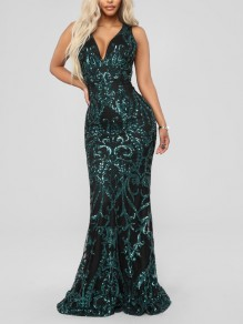 Green Patchwork Sequin Bodycon Mermaid V-neck Sparkly Glitter Birthday Prom Evening Party Maxi Dress