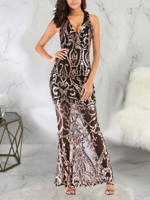 Golden Patchwork Sequin Bodycon Mermaid V-neck Sparkly Glitter Birthday Prom Evening Party Maxi Dress