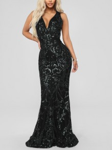 Black Patchwork Sequin Bodycon Mermaid V-neck Sparkly Glitter Birthday Prom Evening Party Maxi Dress