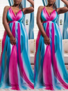 Blue Rainbow Striped Spaghetti Strap Gradient Color Deep V-neck Big Swing Maxi Dress