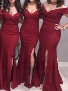 Burgundy Slit V-neck Mermaid Party Bridesmaid Maxi Dress