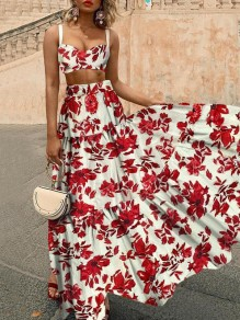 Red Floral Spaghetti Strap Two Piece Pleated Bohemian Beachwear Maxi Dress