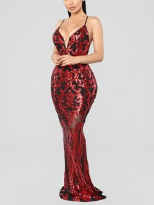 Burgundy Patchwork Sequin Spaghetti Strap Bodycon Mermaid V-neck Sparkly Glitter Birthday Party Maxi Dress