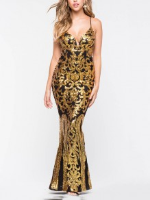 Golden Patchwork Sequin Spaghetti Strap Bodycon Mermaid V-neck Sparkly Glitter Birthday Party Maxi Dress