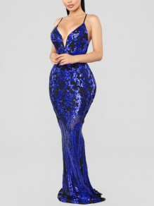 Navy Blue Patchwork Sequin Spaghetti Strap Bodycon Mermaid V-neck Sparkly Glitter Birthday Party Maxi Dress