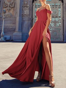 Red Side Slit Pleated Big Swing Off Shoulder Flowy Spaghetti Strap Party Maxi Dress
