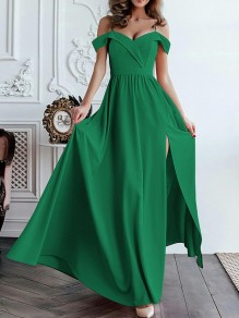 Green Side Slit Pleated Big Swing Off Shoulder Flowy Spaghetti Strap Party Prom Maxi Dress