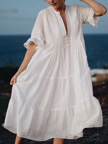 White Pleated Single Breasted V-neck Flare Sleeve Elegant Beach Cover up Maxi Dress