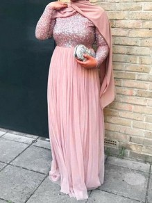 Pink Patchwork Sequin Grenadine Muslim Sparkly Wedding Banquet Party Maxi Dress