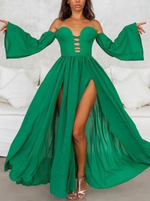 Green Draped Off Shoulder Lace-up Flare Sleeve Double Slit Flowy Casual Beach Bohemian Maxi Dress