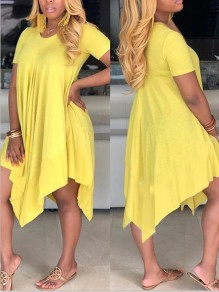 Yellow Pleated Irregular Pockets Round Neck Casual Maxi Dress