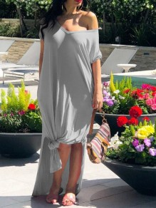 Grey One Off Shoulder High-Low Kont Casual Maxi Dress