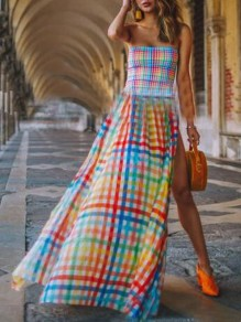 Blue Plaid Irregular Off Shoulder Side Slit Flowy Bohemian Maxi Dress