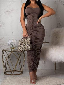 Coffee Off Shoulder Backless Bodycon Club Party Fashion Maxi Dress