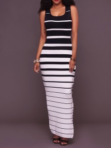 Black-White Striped Print Slit Scoop Neck Fashion Maxi Dress