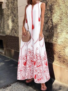 White Embroidery Floral Pockets Tassel V-neck Slit Plus Size Bohemian Mexico Maxi Dress