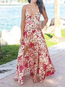 Pink Floral Tie Back Spaghetti Strap Slit Deep V-neck Bohemian Vacation Maxi Dress