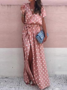 Pink Polka Dot Sashes Draped Side Slit V-neck Short Sleeve Elegant Maxi Dress