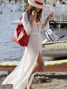 White Drawstring Long Sleeve V-neck Bohemian Comfy Sweet Flowy Bicini Cover up Maxi Dress