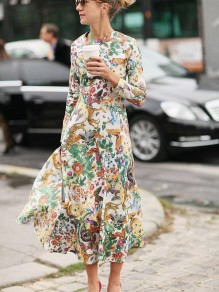 Green Floral Print Leopard Butterfly Animal Chiffon Latest Women Casual Elegant Skater Maxi Dress