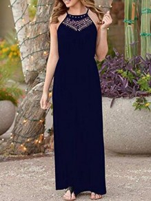 Navy Blue Patchwork Lace Cut Out Round Neck Sleeveless Elastic Waist Elegant Maxi Dress