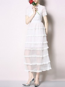 White Patchwork Lace Layers Of Grenadine Sheer Chiffon Elegant Cake Maxi Dress