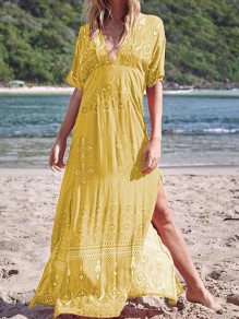 Yellow Tribal Print Draped Side Slits V-neck Bohemian Boho Beachwear Maxi Dress