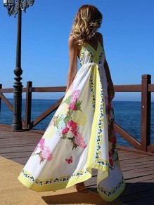 White Floral Pleated Spaghetti Strap Backless V-neck Bohemian Boho Beachwear Maxi Dress