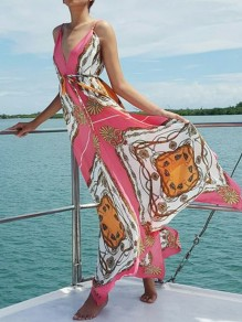 Pink Floral Pleated Spaghetti Strap Backless V-neck Bohemian Boho Beachwear Maxi Dress