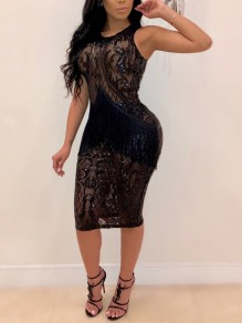 Black Patchwork Grenadine Sequin Bodycon Sheer Sparkly Glitter Birthday Party Maxi Dress
