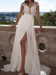 White Patchwork Grenadine Lace Side Slit Mermaid Banquet Elegant Wedding Party Maxi Dress