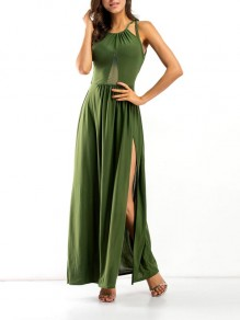 Maxi dress granatina cross back spallina senza spalline spacco laterale verde
