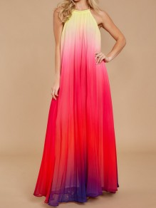 Red-Yellow Gradient Color Pleated Strapless Shoulder Backless Halter Neck Big Swing Chiffon Elegant Maxi Dress