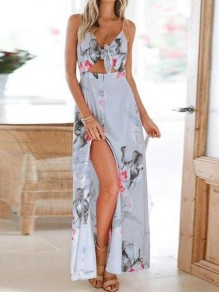 Blue Floral Print Cut Out Knot V-neck Spaghetti Strap Vacation Summer Maxi Dress