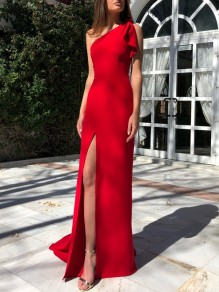 Red Irregular Asymmetric Shoulder Slit Elegant Cocktail Party Maxi Dress