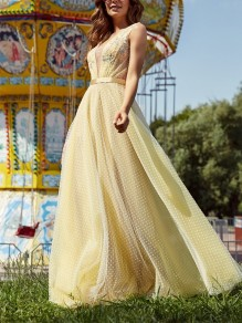 Yellow Patchwork Lace Polka Dot Appliques V-neck Backless Fashion Cocktail Party Prom Maxi Dress