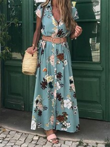 Light Blue Floral Belt V-neck Bohemian Maxi Dress