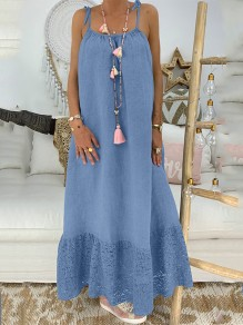 Maxi dress cintura in pizzo condole senza schienale blu