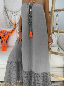 Light Grey Patchwork Lace Condole Belt Backless Going out Maxi Dress