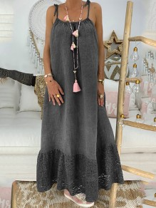Dark Grey Patchwork Lace Condole Belt Backless Going out Maxi Dress