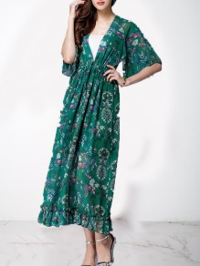 Green Floral Print V-neck Big Swing Sashes Drawstring Pleated Bohemian Beach Flowy Vacation Maxi Dress