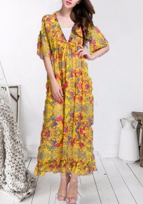 420523d110 Yellow Floral Print V-neck Big Swing Sashes Drawstring Pleated Bohemian  Beach Flowy Vacation Maxi
