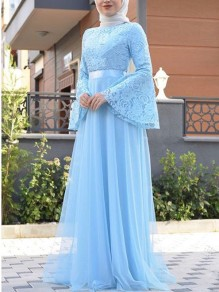 Blue Patchwork Lace Pleated Bell Sleeve Church Elegant Party Maxi Dress